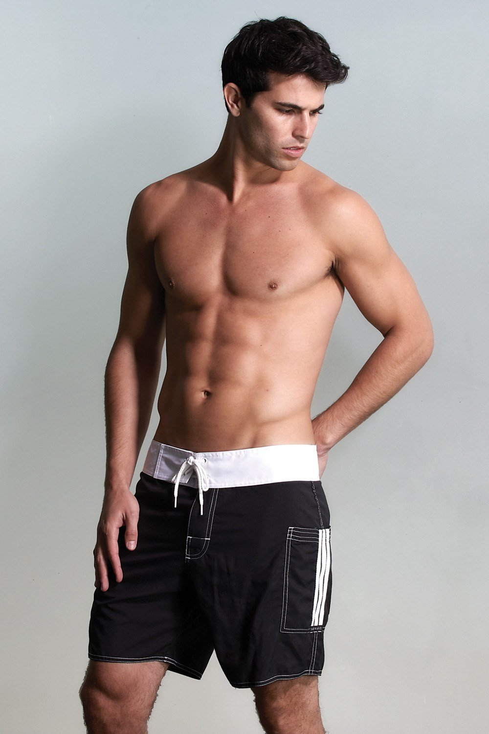Sauvage Swimwear, Designer Swimwear from San Diego, CA made in usaBanded Pocket Board, Small - 30 / Black/Wht, Mens Swim, Men's Swim, Sauvage - 3