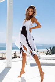 Asymmetrical Black & White Pleated Dress