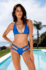 Electric Blue Slick Cutout Bottom