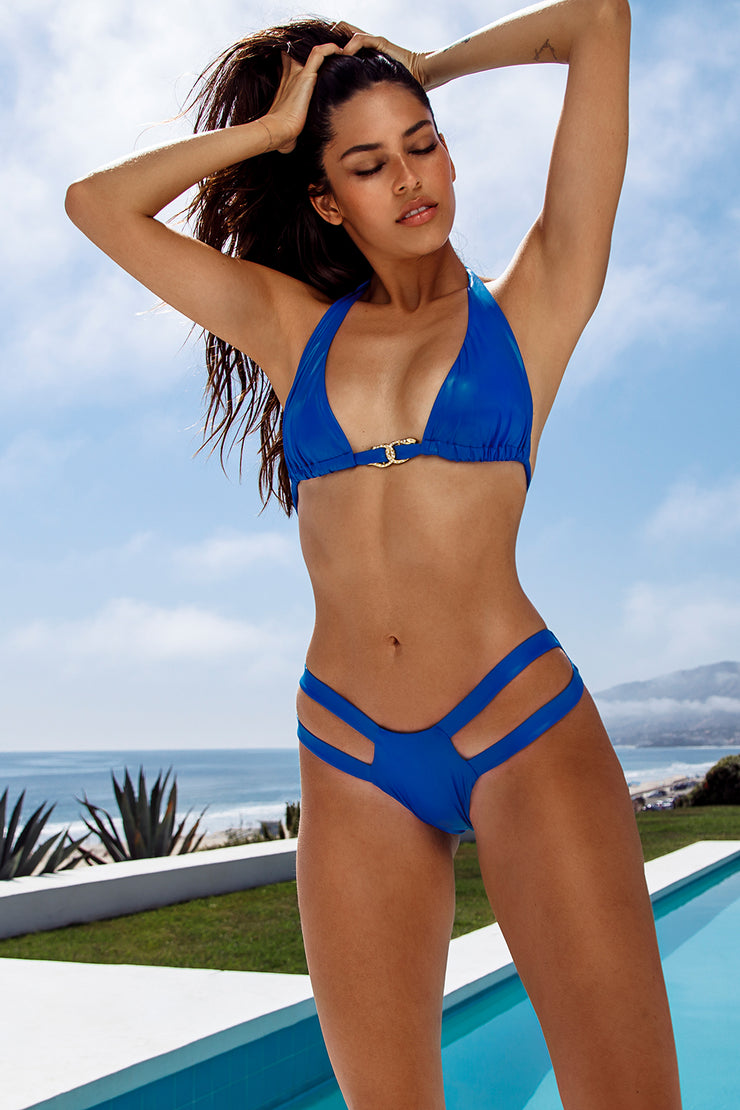 Electric Blue Slick Halter Top