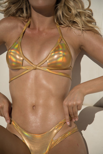 Strappy Gold Irridescent Bottom