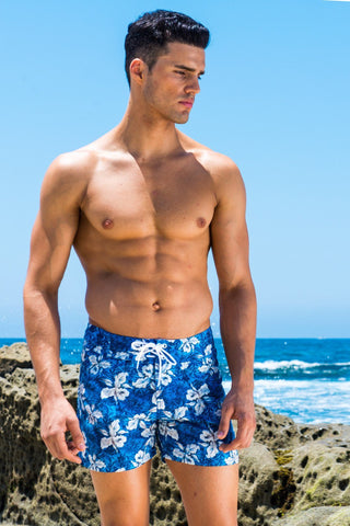 Maui Blue Floral Boardwalk Surf Short