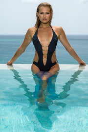 Gold Arc Plunge One Piece Black