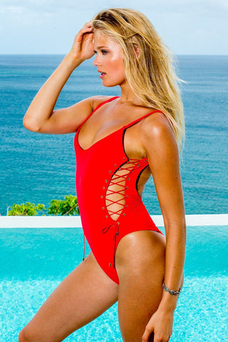 Side Lace One Piece in Poppy
