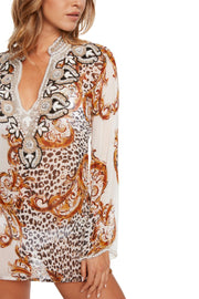 Jeweled Animal Silk Coverup