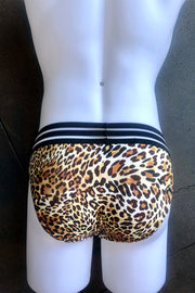 Sheer Stripe Brief - Leopard
