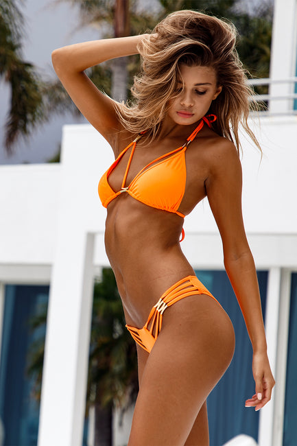 Diva Strappy Triangle Top - Hot Orange
