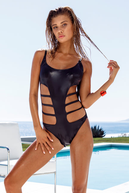 Black Slick Cutout One Piece