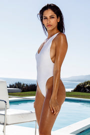 White Slick Tank One Piece