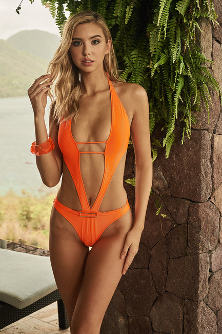 Fluo Hot Orange V Plunge One Piece
