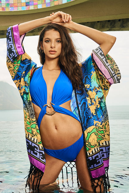 Gold Snake Twist One Piece - Cobalt
