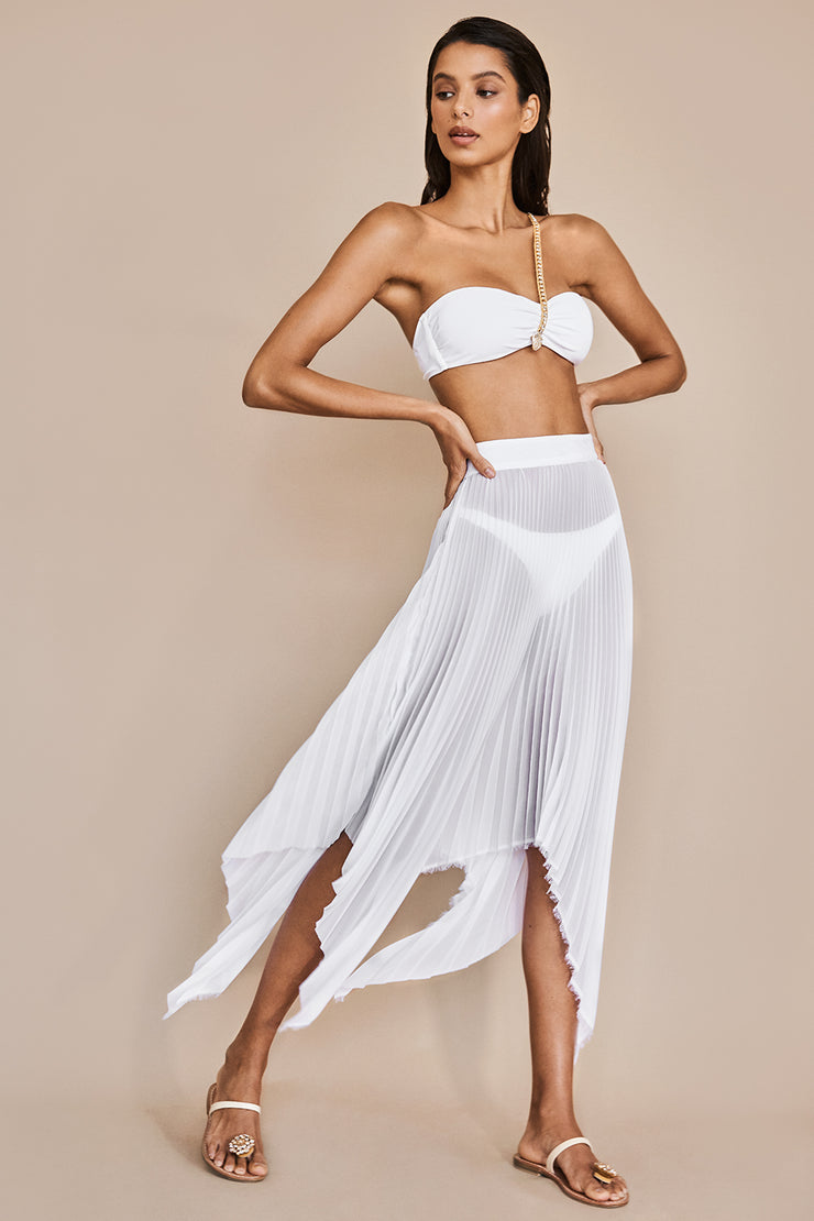 Asymmetrical White Draped Skirt