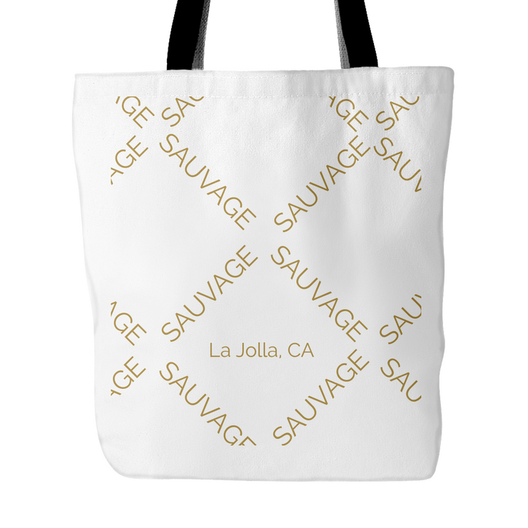 Sauvage Swimwear, Designer Swimwear from San Diego, CA made in usaWhite logo bag, , Tote Bags, teelaunch, Sauvage
