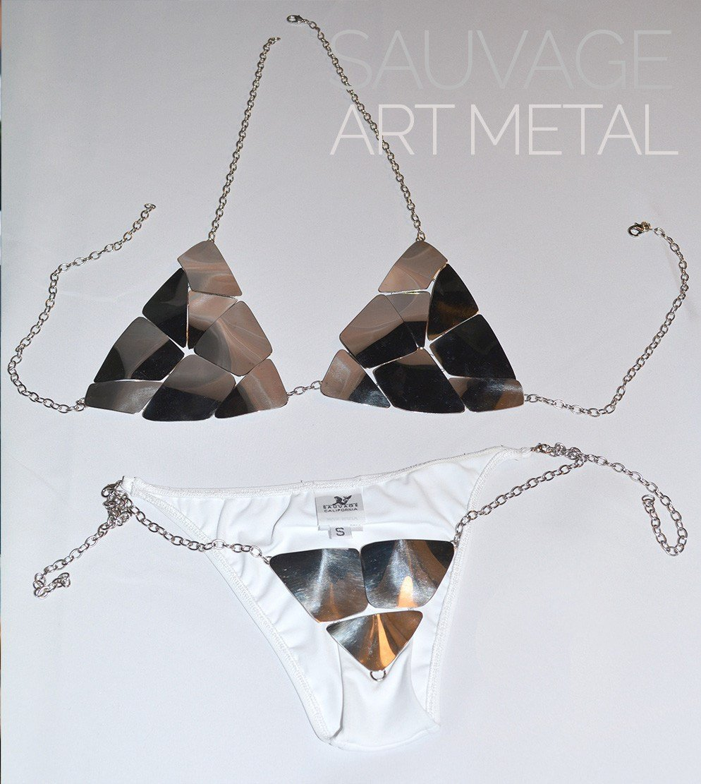 Sauvage Swimwear, Designer Swimwear from San Diego, CA made in usaArt Metal Bikini, , Swim, sauvage swimwear, Sauvage - 3