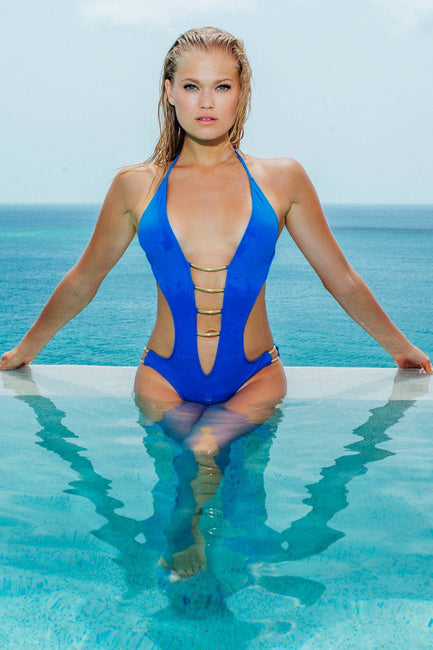 Gold Arc Plunge One Piece in Royal