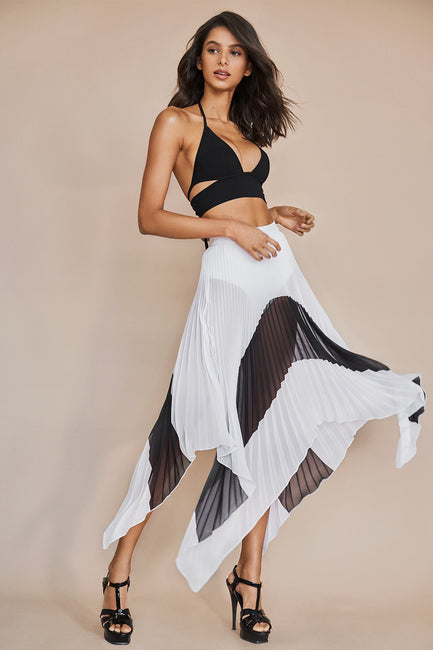 Asymmetrical Black & White Pleated Skirt