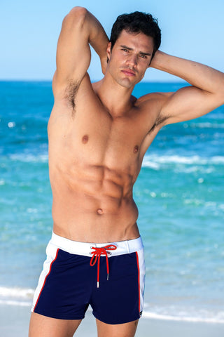 Sauvage Swimwear, Designer Swimwear from San Diego, CA made in usaSummer Sport Stripe Retro Swimmer, , Mens Swim, Men's Swim, Sauvage