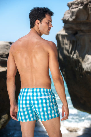 Sauvage Swimwear, Designer Swimwear from San Diego, CA made in usaManhattan Plaid Swimmer, , Mens Swim, Men's Swim, Sauvage - 2