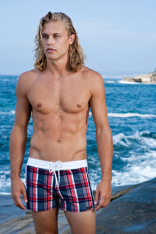 Sauvage Swimwear, Designer Swimwear from San Diego, CA made in usaNavy Plaid Retro Lycra Swimmer, , Mens Swim, Men's Swim, Sauvage - 1