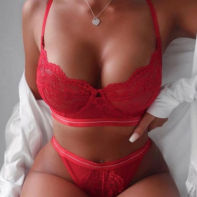 Sexy Lace Push Up Bra+ Panties Set