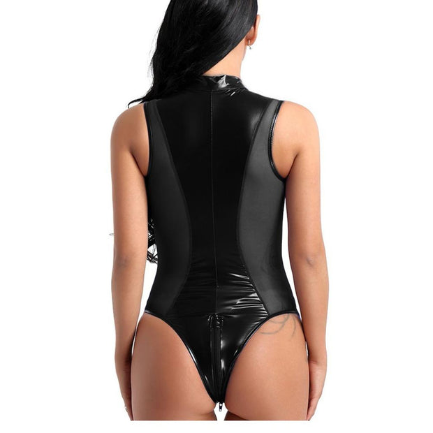 Sexy Women Latex Catsuit Crotchless