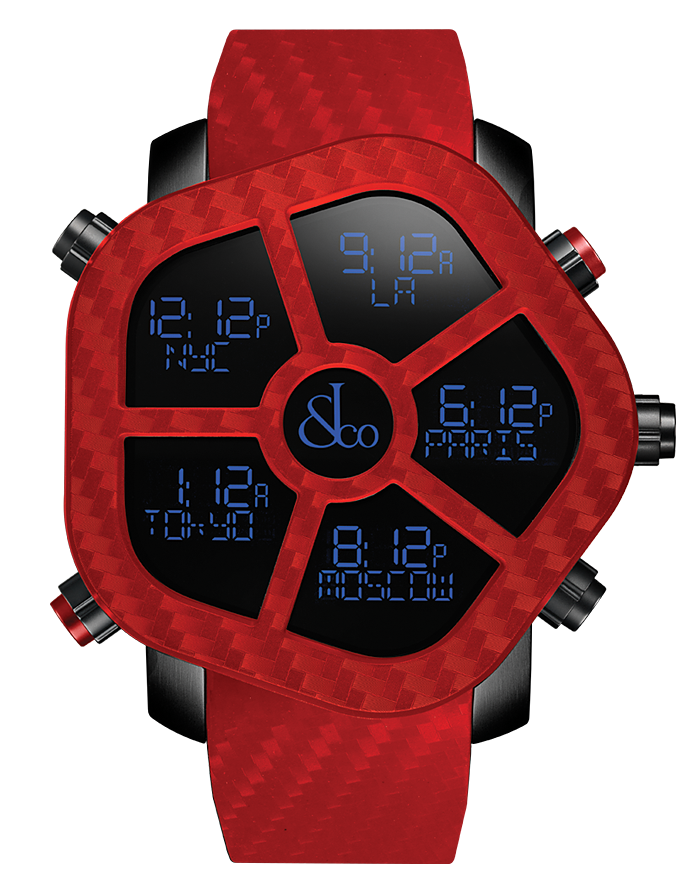 Jacob And Co Five Time Zone Ghost Red Carbon 47MM