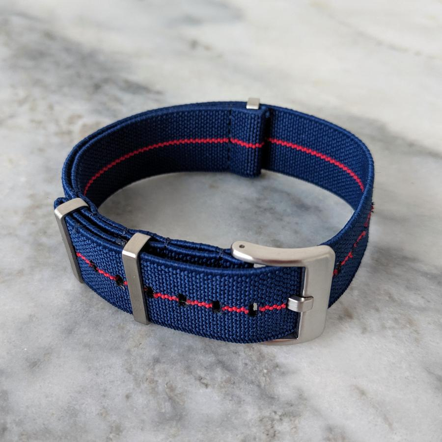 Marine Nationale Elastic NATO Watch Strap Navy/Red 22mm