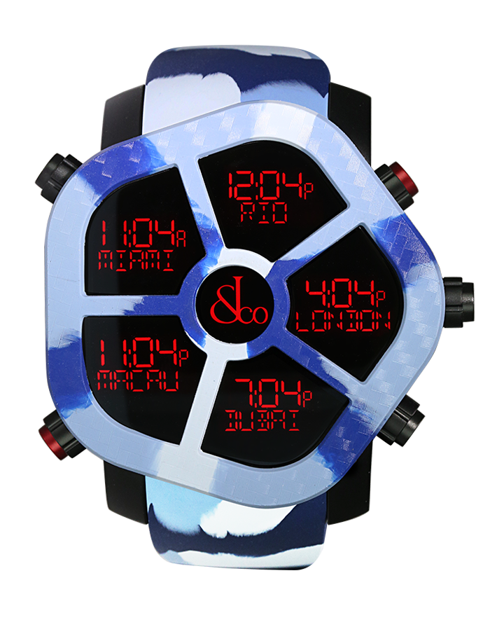 Jacob And Co Five Time Zone Ghost Blue Camouflage Carbon 47MM