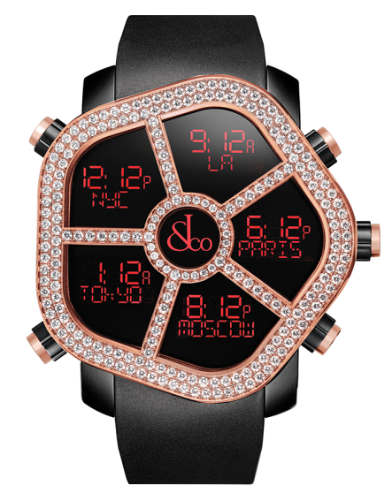 Jacob And Co Five Time Zone Ghost Black Rose Gold And Diamonds 47MM
