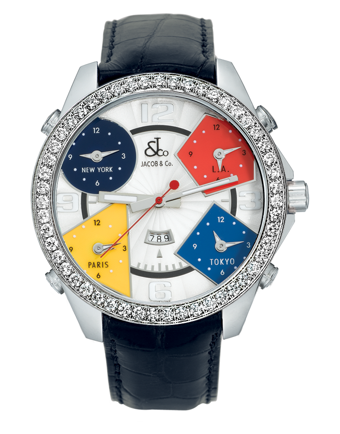 Jacob And Co Five Time Zone Steel and Diamonds 40MM