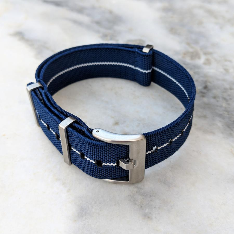 Marine Nationale Elastic NATO Watch Strap Navy/White 22mm