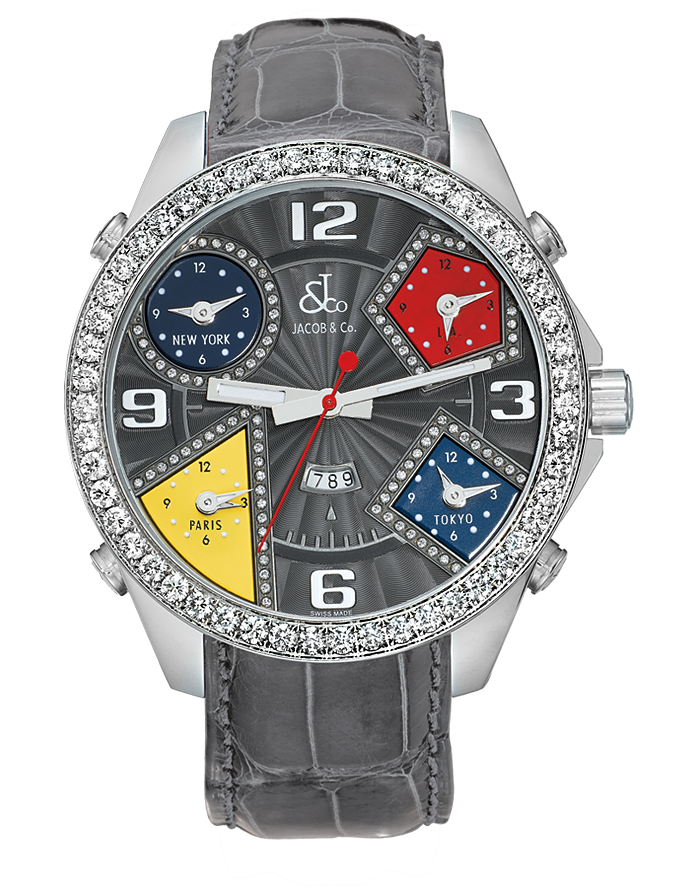 Jacob And Co Five Time Zone Grey and diamonds 40MM