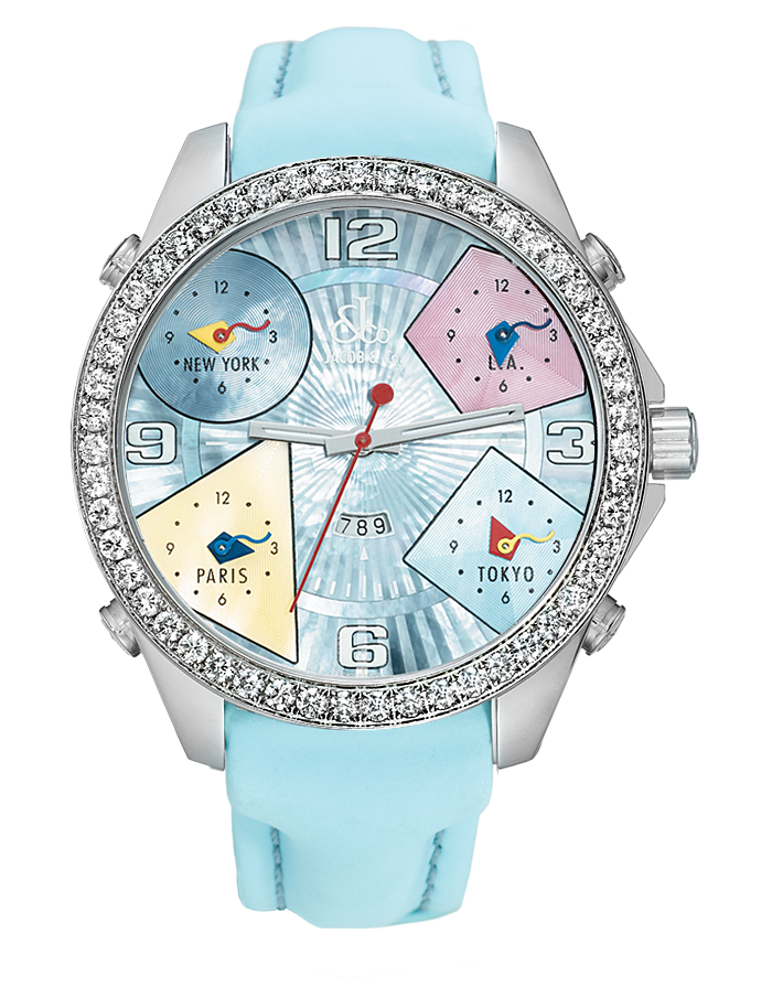 Jacob And Co Five Time Zone Baby Blue and diamonds 47MM