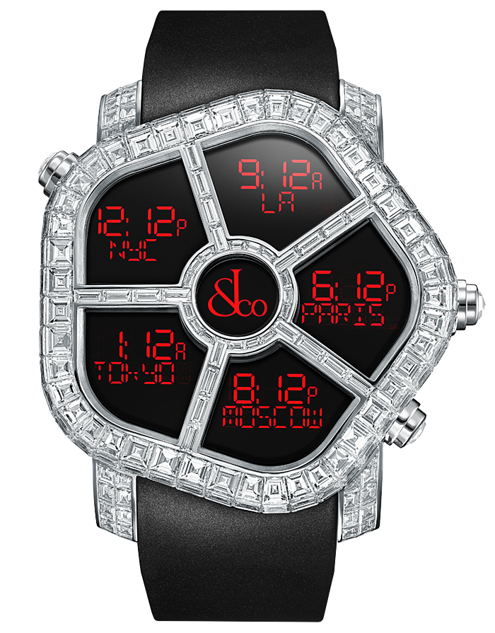 Jacob And Co Five Time Zone Ghost Black Baguette Diamonds 47MM