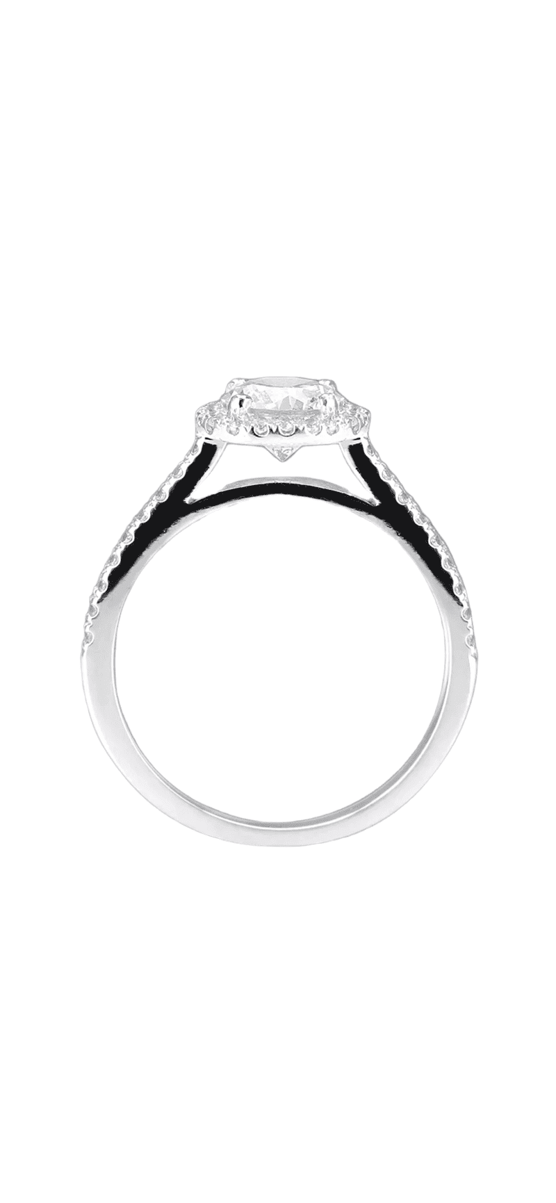 14ct White Gold Cushion Shaped Halo Ring 1ct