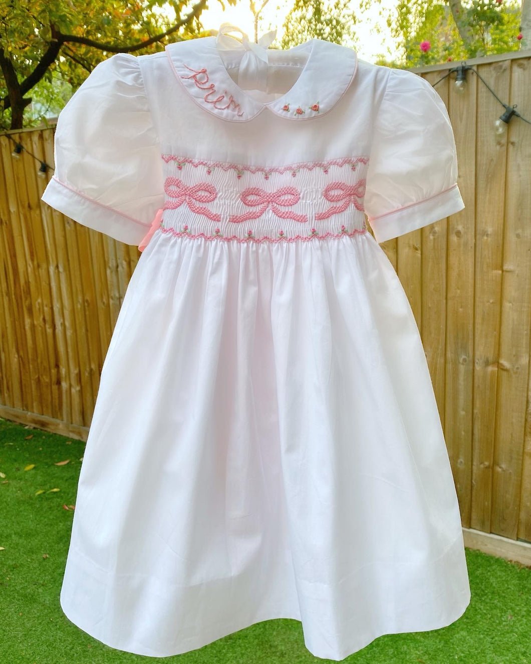 Bow smocked party dress