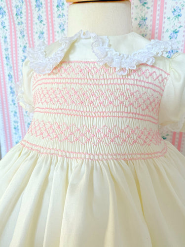 Classic cream smocked dress