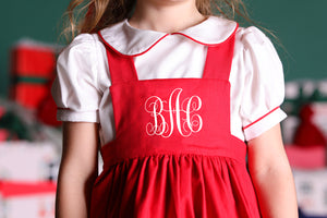 Bow Embroidered Pinafore