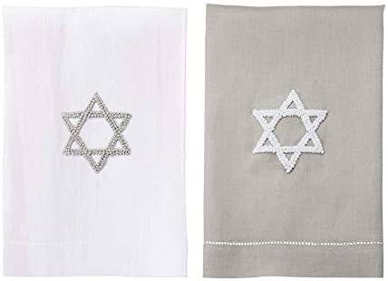 Mud Pie Star of David French Knot Tea Towels