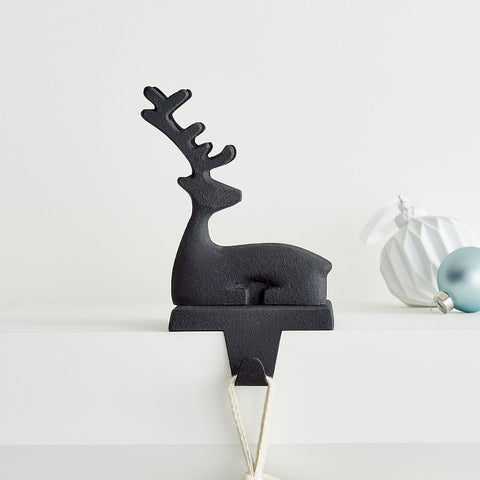 Zinc Sitting Reindeer Stocking Hook by Crate and Barrel
