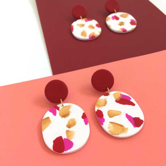 Earrings oval painting