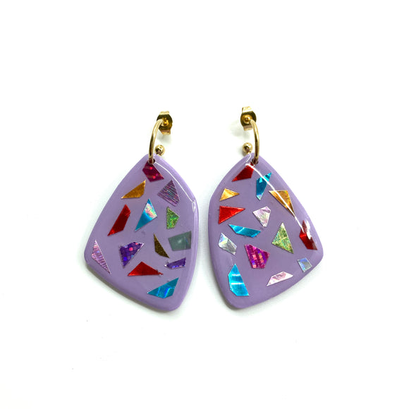 Earrings Funky Lilac Stone
