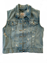 Load image into Gallery viewer, Distressed Levi Denim Vest with Skull Butterfly Sun Patch