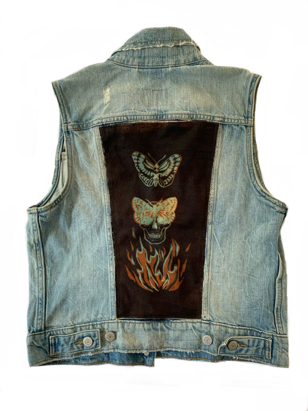 Distressed Levi Denim Vest with Skull Butterfly Sun Patch