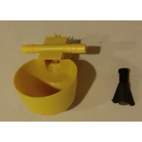 "Yellow Chicken Watering Cup with inline 3/8"" barb"