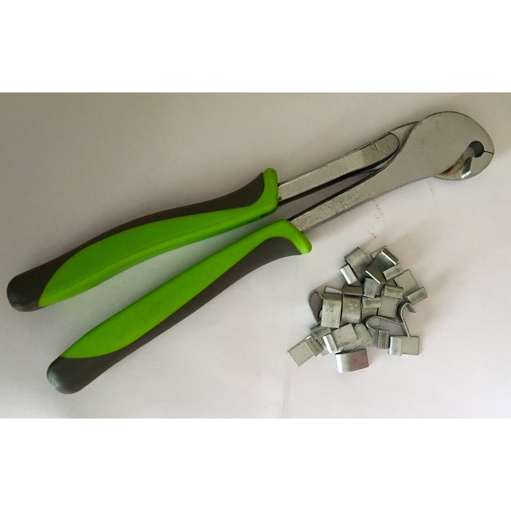 J-clip Pliers green soft grip handle