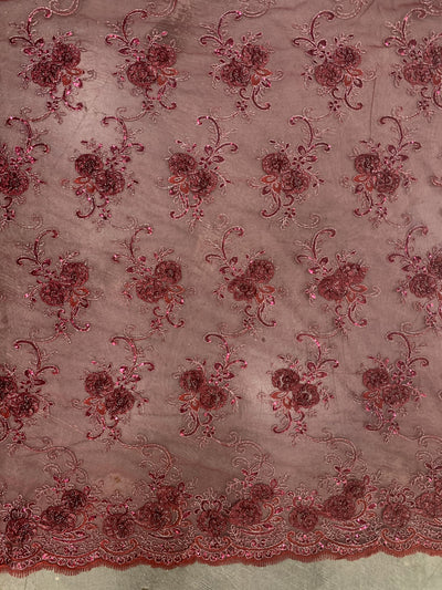 Ryleigh BURGUNDY 3D Floral Embroidery with Foil & Sequins on Mesh Lace Fabric