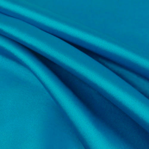 Payton TURQUOISE BLUE Faux Silk Stretch Charmeuse Satin Fabric by the Yard
