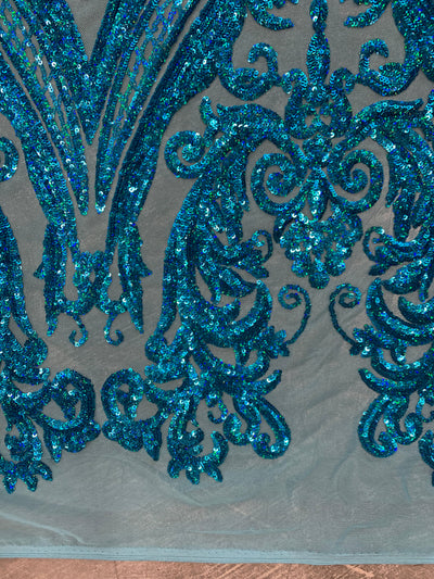 Alaina IRIDESCENT TURQUOISE Curlicue Sequins on Mesh Lace Fabric by the Yard