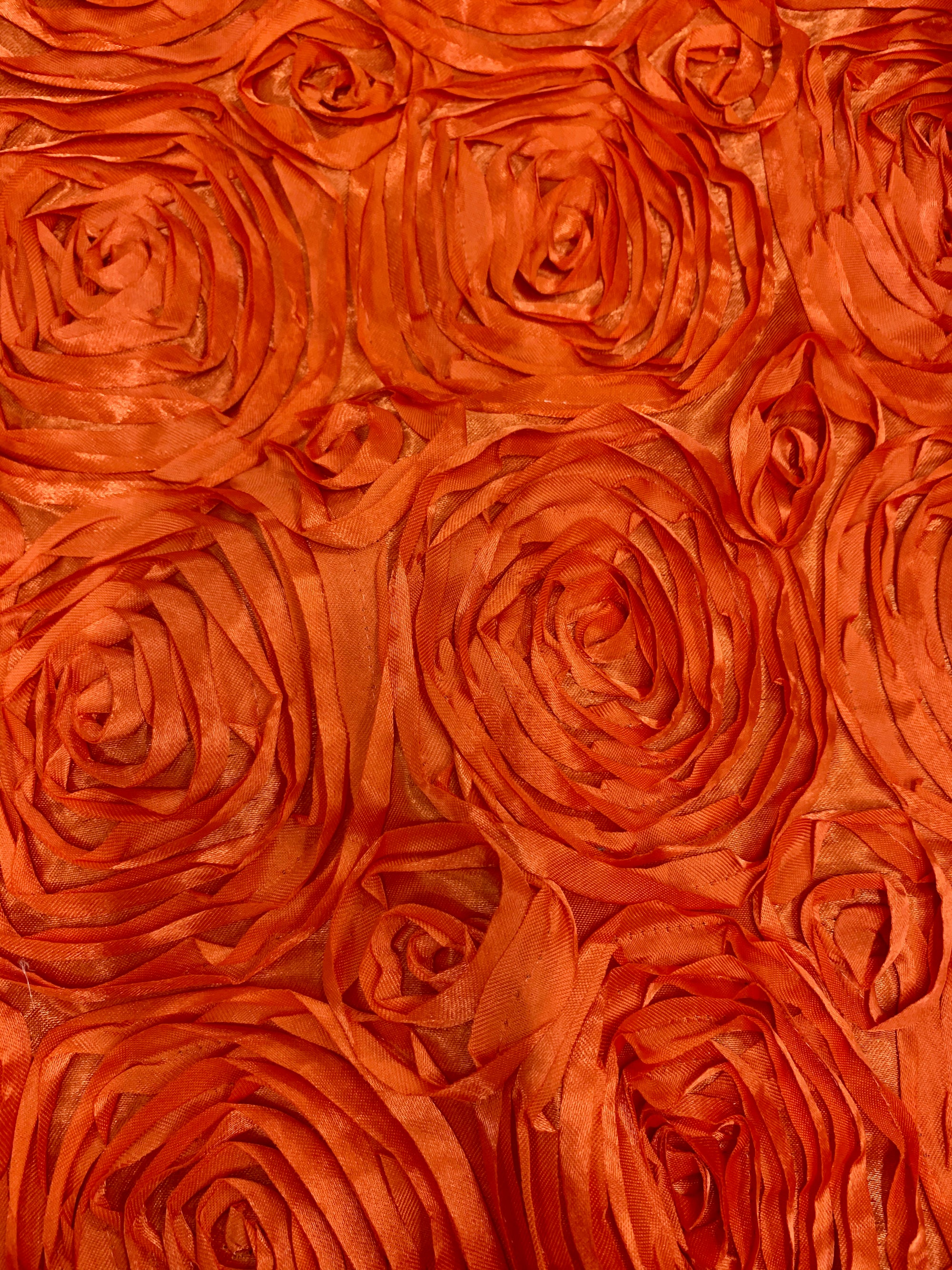 Paige ORANGE 3D Floral Polyester Satin Rosette Fabric